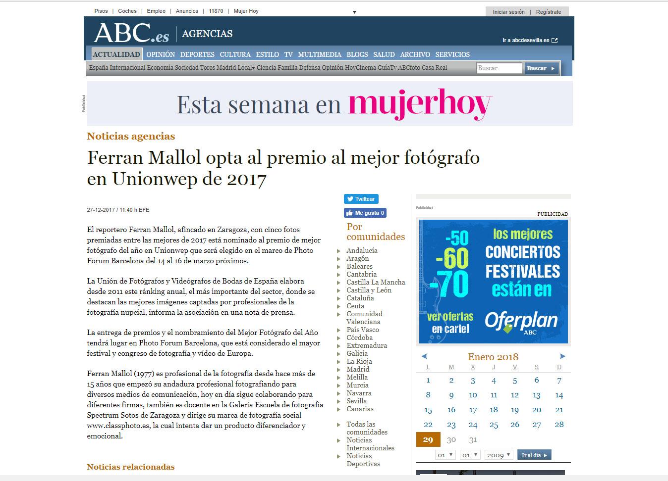 Los medios se hacen eco de nuestra nominación, ferran mallol, classphoto, fotografía de boda en Zaragoza, abc