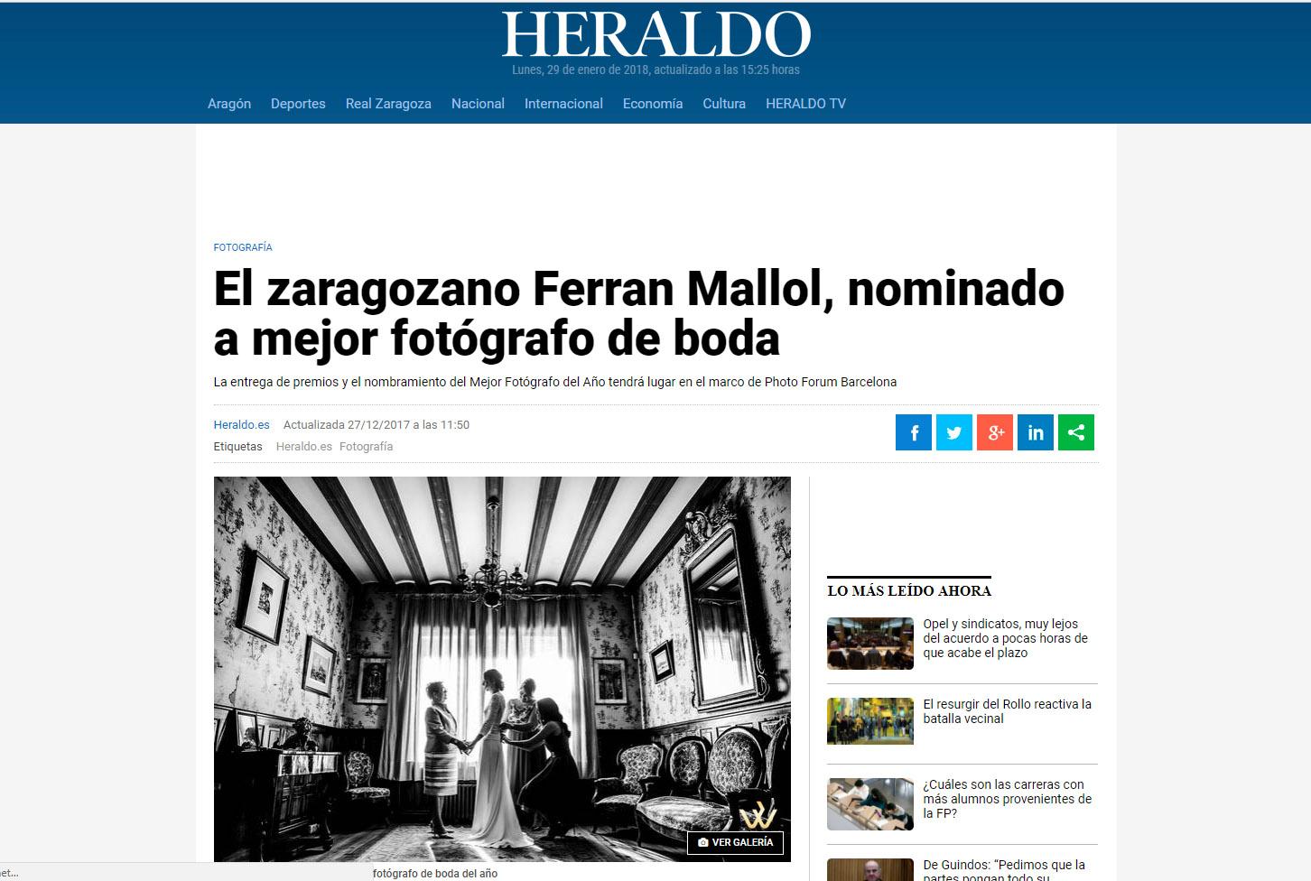 Los medios se hacen eco de nuestra nominación, ferran mallol, classphoto, fotografía de boda en Zaragoza, heraldo